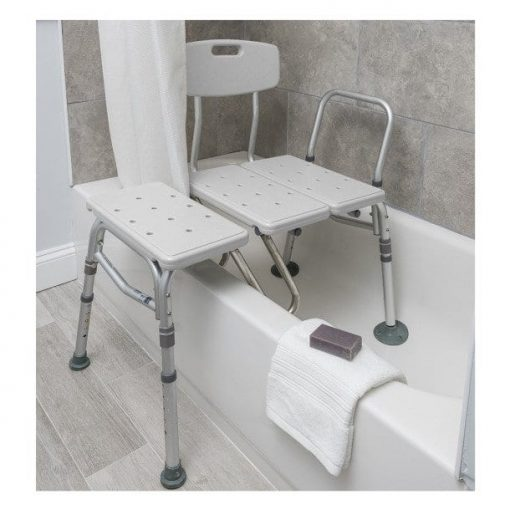 Drive medical splash defense transfer bench with curtain guard protection